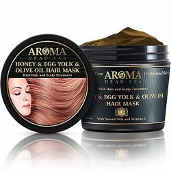 العسل و صفار البيض و زيت الزيتون العميق تعافي قناع الشعر - Honey & Egg Yolk & Olive Oil Deep Recovering Hair Mask